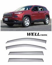 For 14-UP Jeep Cherokee WellVisors Side Window Visors W/ Black Trim