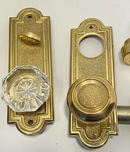 Emtek Belmont 8070 Plates Single Cyl Deadbolt Brass & Crystal Door Knob