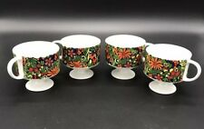 Four (4) Holt Howard H.H. 1968 7574 Mid Century Floral Design Coffee Mugs Retro
