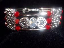 Hot Fashion Heart Jewelry Tibet Silver Red & Clear Crystal Bead Bracelet B-62