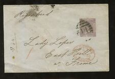 Gb Qv 6d 1865... Lombard Street, Carta Certificada En Caja + Sello
