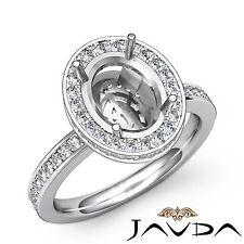 Diamond Anniversary Ring Oval Shape Semi Mount 14k W Gold Pave Setting 0.82Ct