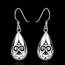 Mujer Pendientes Largos 925 Plata Aretes Cuelga Gota Dangle Earrings  Ear Stud