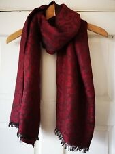 Spiral Patterned Pashmina, Shawl, Scarf, Reversible, Red, Good Condition!