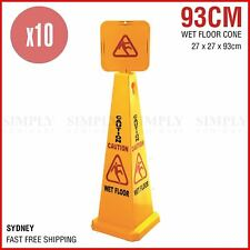 10x Wet Floor Cone Caution Safety Sign Yellow Hazard Slippery Cleaning 93cm