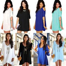 Women Cold Shoulder Chiffon Dress Plus Size Top Blouse Tee Shirt Casual Sundress