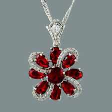 Gift Jewelry 18K White Gold Gp CZ Zirconia Red Ruby Flower Pendant Free Chain