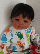 "Reborn African American/Ethnic/Biracial 17"" Preemie Baby Boy Doll  ""Lollipop"""
