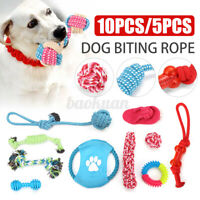 5/10Pcs Pet Dog Puppy Cotton Chew Knot Toy Braided Bone Bite Rope Funny Supplies