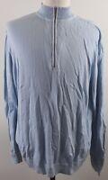 Peter Millar 1/2 Zip Peruvian Cotton Golf Sweater MENS LARGE Blue Pullover