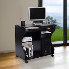 Mobiler Rollbar Schreibtisch Schwarz Computertisch Tisch Arbeitstisch Mit Ablage