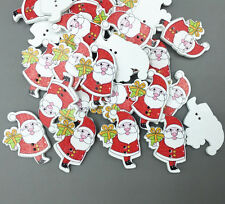 25pcs Christmas Wooden Buttons Santa Claus gift Fit Sewing scrapbooking 33mm