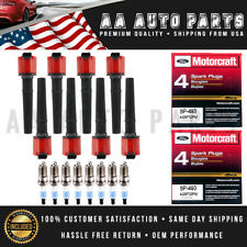 Red UF191 Ignition Coils & SP493 MotorCraft Spark Plugs 8PCS For Ford & Lincoln