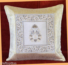 WHITE SILK EMBROIDERY BROCADE PILLOW COVER/CUSHION COVER FROM INDIA!!