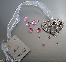 Wedding/Bridal Keepsake/Horseshoe -  Silver Diamante Heart with Butterfly