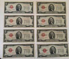 (8) 1928 $2 Dollar Bill Lot Red Seal Series G WOW USA Currency
