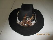 Vintage Round Up Men's Western Cowboy Large Black Wool Hat Braid/FeatherBand New