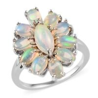 925 Sterling Silver Platinum Plated Opal Cluster Ring Jewelry For Women Ct 2.2