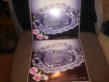 """2 BEAUTIFUL MATCHING CRYSTAL SERVING TRAYS W/ HANDLES EA. 10 1/2"""" X 9""""  W/ BOXES"""