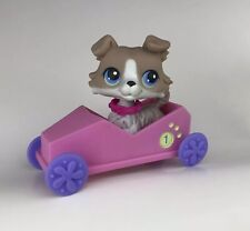 Littlest Pet Shop #67 COLLIE Dog Gray White Blue Eyes Pink Collar & Car LPS
