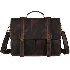 Vintage Men's Leather Messenger Bag Briefcase Laptop Tote Bag School Bookbag