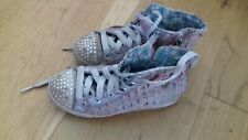 SKECHERS Girls Twinkle Toes Shuffles All Over Glitter High Tops Size 11 Jnr USED
