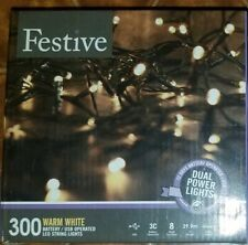 Festive CHRISTMAS STRING LIGHTS Battery Operated Timer LED Warm White 300 USB