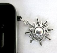 Antique Silver Style Flaming Sun Star Mobile Phone Dust Plug Charm FREE Gift Bag