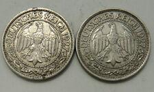 GERMANY 2 X 50 REICHSPFENNIG 1927F 1927E