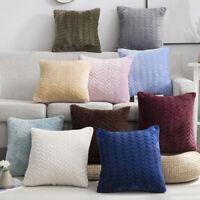 Flocking Solid Color pillowcase Sofa Waist Throw Cushion Cover Smooth Home Decor