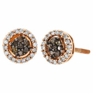 10K Rose Gold Brown Diamond Flower Studs Halo Cluster 7mm Earrings 0.25 Ct.