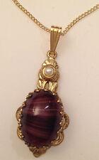 pendentif chaine ancien dentelle couleur or cabochon marbré perle blanche 266