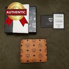 New Authentic MCM Bi-Fold Wallet in Vesetos Original Cognac (Brown)