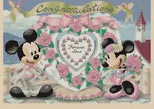 Tabla de puntada cruzada de Disney-Mickey Mouse y Minnie's Boda-flowerpower 37-uk