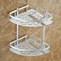 Wall Mounted Triangular Shower Caddy Corner Shelf 2-Tier Bathroom Rack Storage