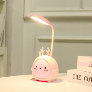 LED Table Lamp USB Rechargeable Desk Lamp Dimming Cute Reading Bedroom Light