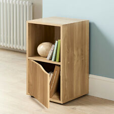 Turin 2 Sections With 1 Door And 1 Open Cube Shelves Storage Unit - Oak Finish