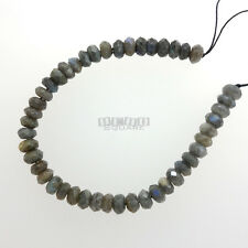 "8"" Labradorite Faceted Rondelle Beads 7mm - 8mm w/Blue, Green Flash #11265"