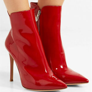 Womens Patent Leather Stiletto Pointy Toe Side Zip Clubwear Ankle Boots shoes SZ