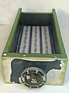 Farmhouse Drawer Box Wood Crate Cow Dairy Spigot Handle Green Black Country