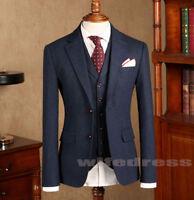 Men's Herringbone Vintage Dark Blue Wool Suits 3pcs Formal Wedding Groom Suits