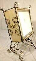 Mid Century Modern Brass Stand With Light and  Vanity Makeup Mirror Vintage