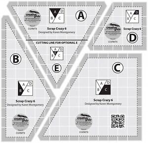 (US Seller) Creative Grids Scrap Crazy 6 Templates Quilt Ruler CGRMT6