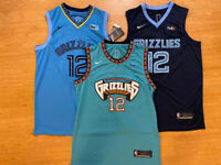 #12 Ja Morant Memphis Grizzlies Men's Throwback TEAL or Navy Stitched Jersey