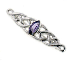 Sterling Silver Celtic Knot and Genuine Marquise Amethyst Brooch or Bar Pin