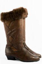 Vintage Stiefel 41 cognac Leder Futter Fellkante 80s Boots Boho Moda Italia