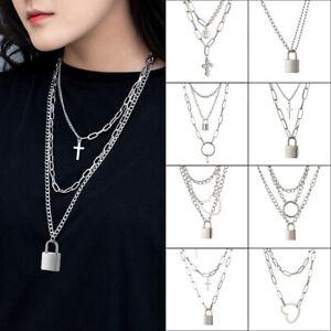 Lock Chain Necklace Layered Padlock Pendant Eboy Fashion Gothic Jewellery
