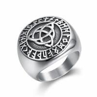 Mens Viking Rune Celtic Irish Trinity Knot Ring Stainless Steel Size 7-13