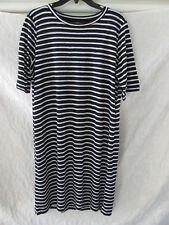 0a13fd33d16d Eileen Fisher Round Neck Dress-Organic Linen Stripe-Black/White-Size XS