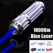 Burning Adjustable Focus Blue Laser Pointer Military Visible Beam Zoom 450nm-1mw